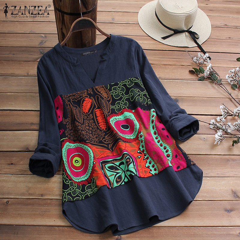 2019 ZANZEA Casual Cotton Blouse Women V Neck Long Sleeve Tunic Tops Autumn Vintage Printed Patchwork Loose Shirts Female Blusas