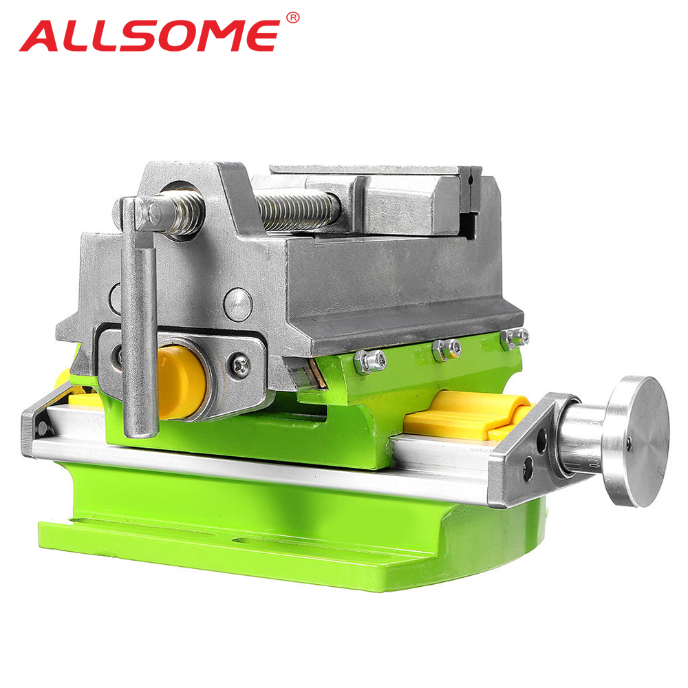 ALLSOME 3 Inch Cross Slide Vise Vice Table Compound Table Worktable Bench Alunimun Alloy Body For Milling Drilling HT2878