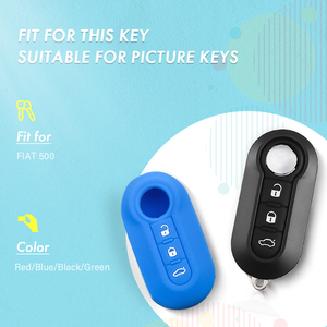 Image 2 - KEYYOU Silicone Car Key Cover Fits for Fiat 500 3 Button Flip Remote Key Shell Blank Cover New Arrival