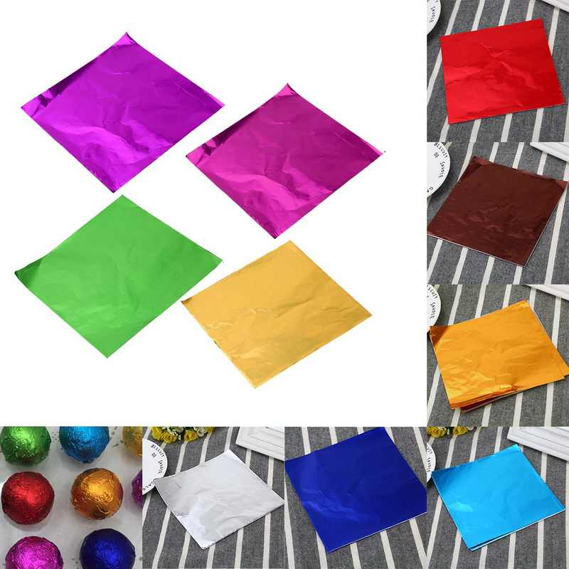 Dozzlor 100pcs 8x8CM DIY Food Aluminum Foils Paper Chocolate Candy Packaging 10 Colors Party Birthday Wrapper Foil paper sticker