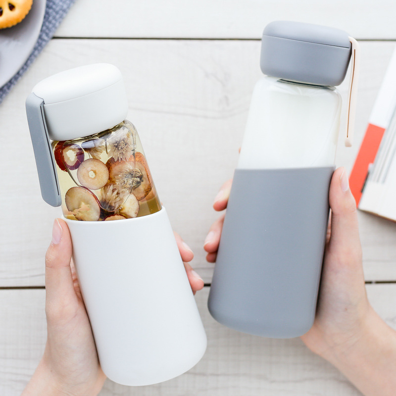 400 ML Glass Water Bottle Healthy Leak Proof Drinking Portable Drinkware With Silicone Cover For Student Lovers image