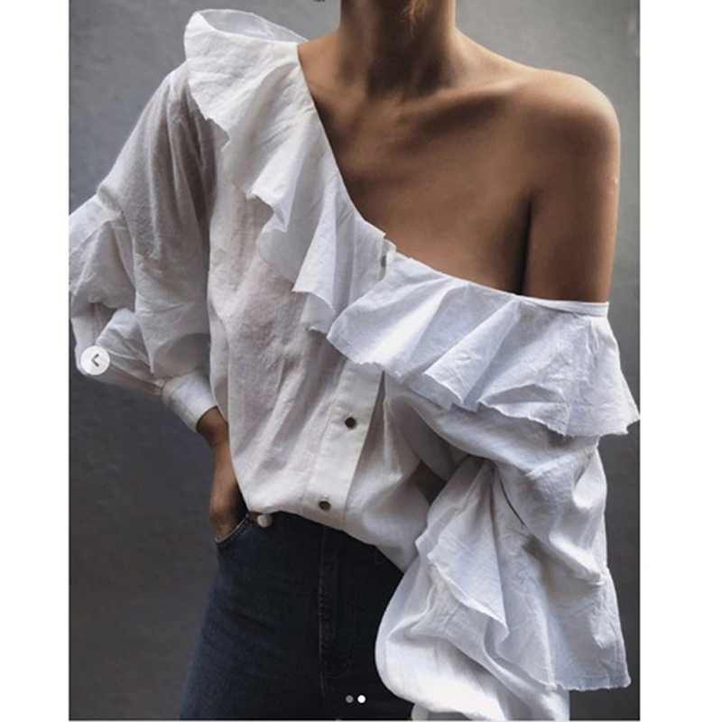 Fashion Casual Shirt Womens White Sexy Off Shoulder Blouse Sweet Girls Ruffles Long Sleeve Shirts Women's Blouses Top Clothing