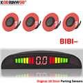 Koorinwoo Ultraschall LED Parkplatz Sensoren Auto Parktronic mit 4 Sonden Umkehr Radar Auto Erkennung Dash Überwachung System Schwarz