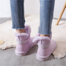 Women Boots Sheepskin Winter Fashion Mid-Calf No Rhinestones Handmade Genuine