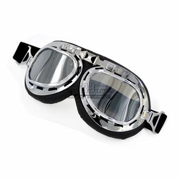 Retro motocykl gogle motocykl Pilot okulary ochronne latające skuter okulary motocyklowe kask okulary ATV okulary Off-Road tanie i dobre opinie Jeden rozmiar Unisex Mężczyźni Kobiety MULTI Fit with Half or Open Face Helmets Clear Somke Silver Yellow UV GT-001-CL