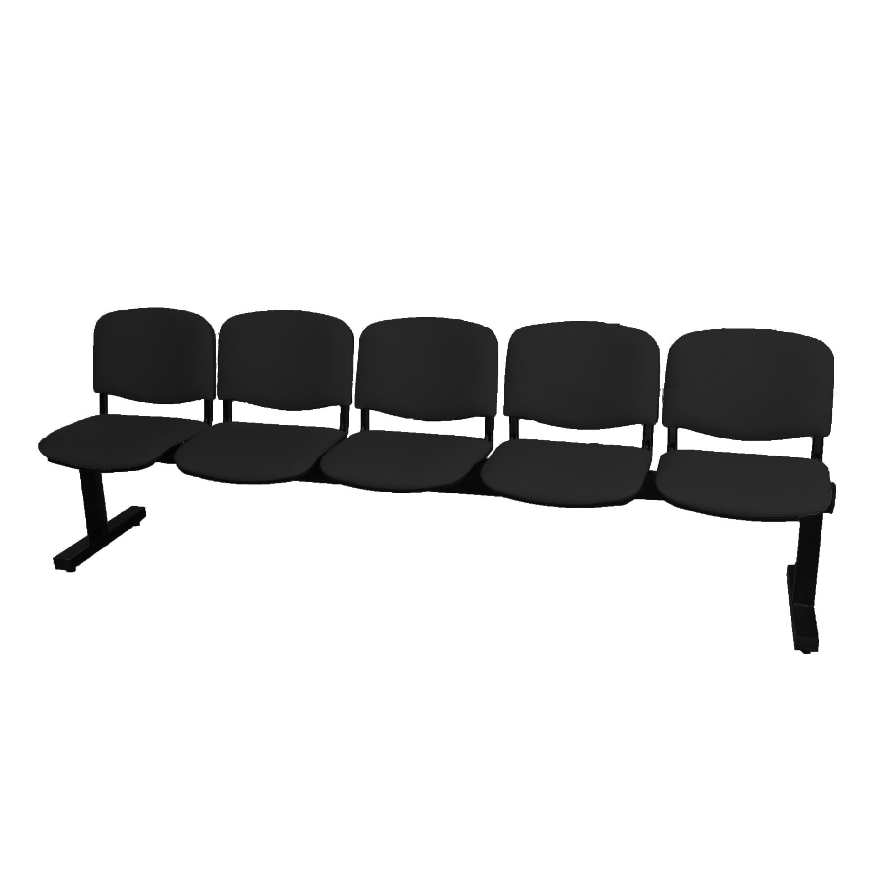 Bench Waiting Five Seater And Iron's Structure In Black Color Up Seat And Backstop Upholstered In Tissue ARAN Col