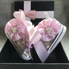 Dollbling Pink Flower Ribbon Luxury Bella Baby Girl Sneakers Handmade Bling Rhinestones Special Occassions Crib Shoes
