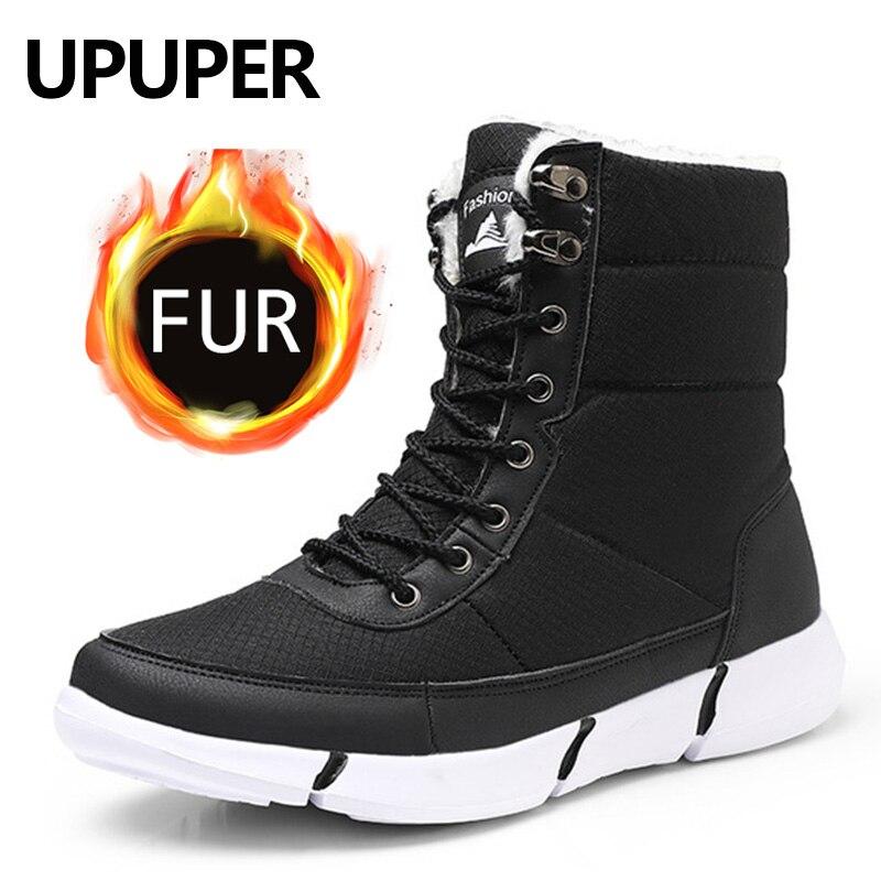 UPUPER Waterproof Men's Snow Boots With Fur Super Warm Boots Men Casual Winter Boots High Top Sneakers Unisex Plus Size 36-48