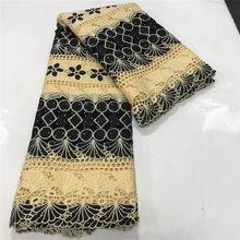2019 hohe Qualität Afrikanische Spitze Stoff Mit steinen Afrikanische Stickerei Guipure spitze stoff für Nigerianischen Net spitze frauen Kleid 5 hof