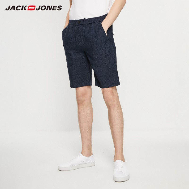JackJones Men's Spring & Summer Casual Linen Plaid Straight Fit Shorts Style| 219215534