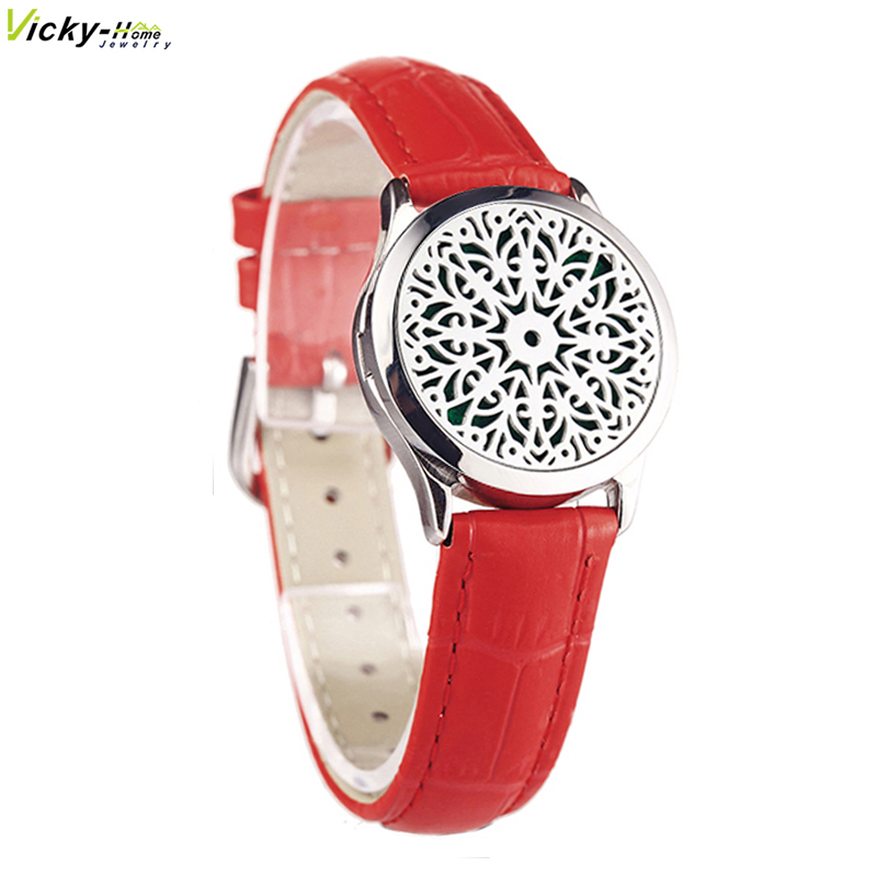 Red Genuine Leather Bracelet Watch Locket Crystal Stainless Steel Man Woman Bangle Essential Oils Aromatherapy Locket Bracelet