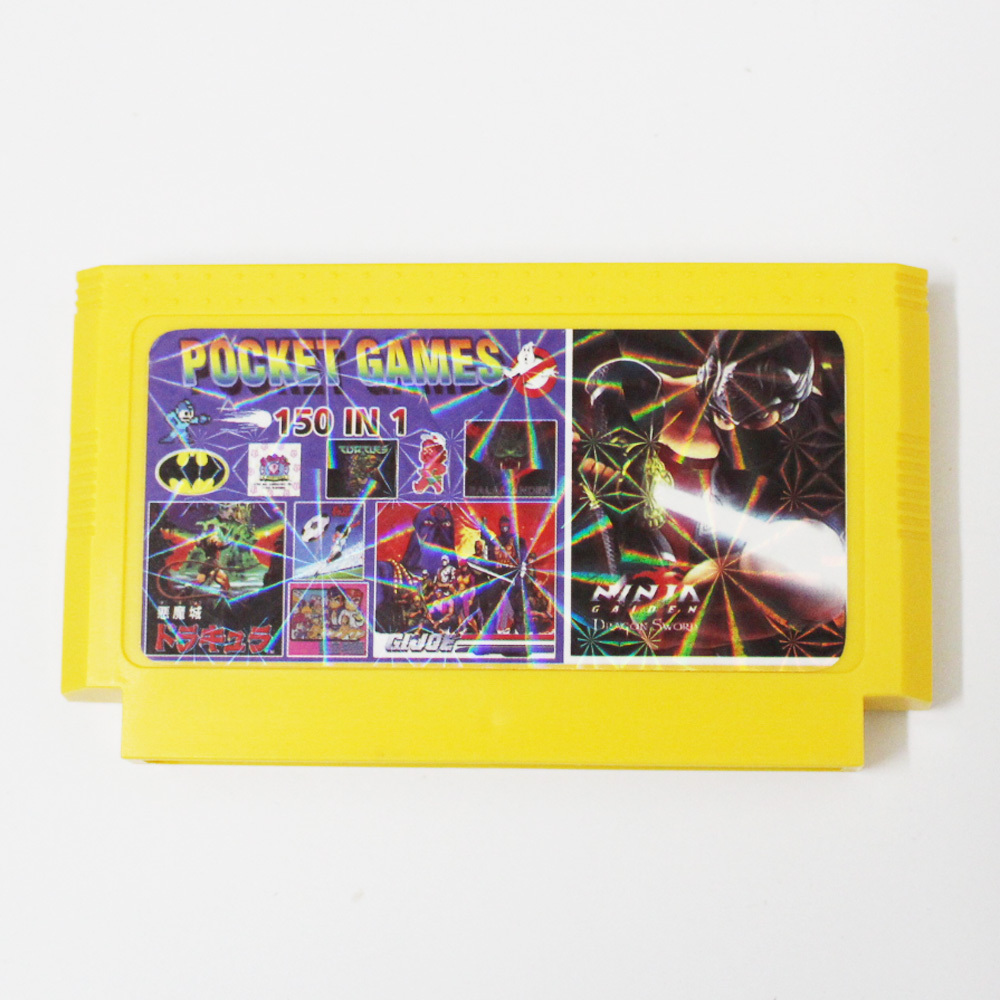 Top quality 8 bit Game Cartridge <font><b>150</b></font> <font><b>in</b></font> <font><b>1</b></font> Big Yellow Game Card For 8 Bit 60pin Game Player image
