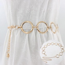 Fashion Women Gold Waistband Metal Circle Chain Belts For Ladies Dresses Hollow Out Long Plated Waist Belt недорого