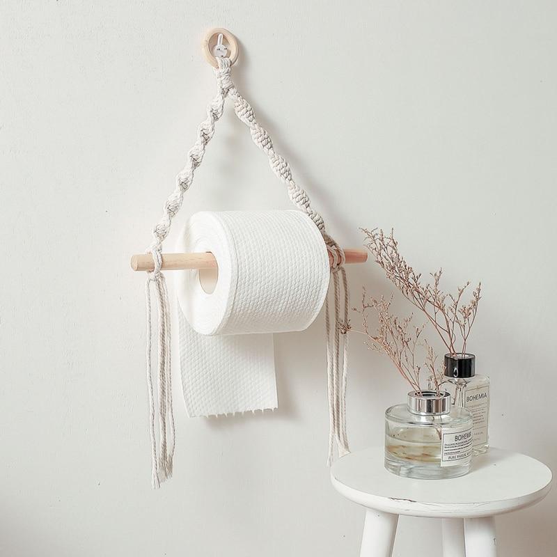 Nordic Toilet Paper Holder Dispenser Hand-woven Tapestry Macrame Wall Hanging Bathroom Towel Rack Decoration