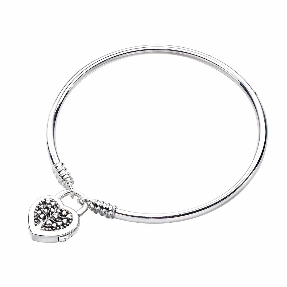 Authentic 925 Sterling Silver Bangle Moments Tree Of Life Love Heart Padlock Clasp Bracelet Fit Bead Charm Diy Jewelry