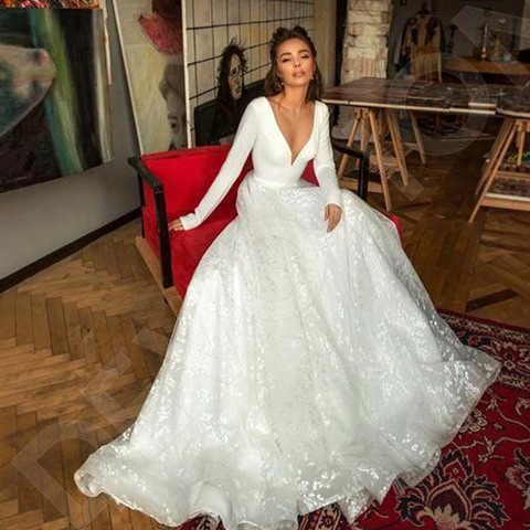 Robe de mariee Vintage Long Sleeve Lace Satin Wedding Dress Sexy Deep V Neck Backless Bride Dress for Wedding Lahore