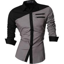 Jeansian Mens Casual Dress Shirts Fashion Desinger Stylish Long Sleeve Slim Fit Z015 Gray