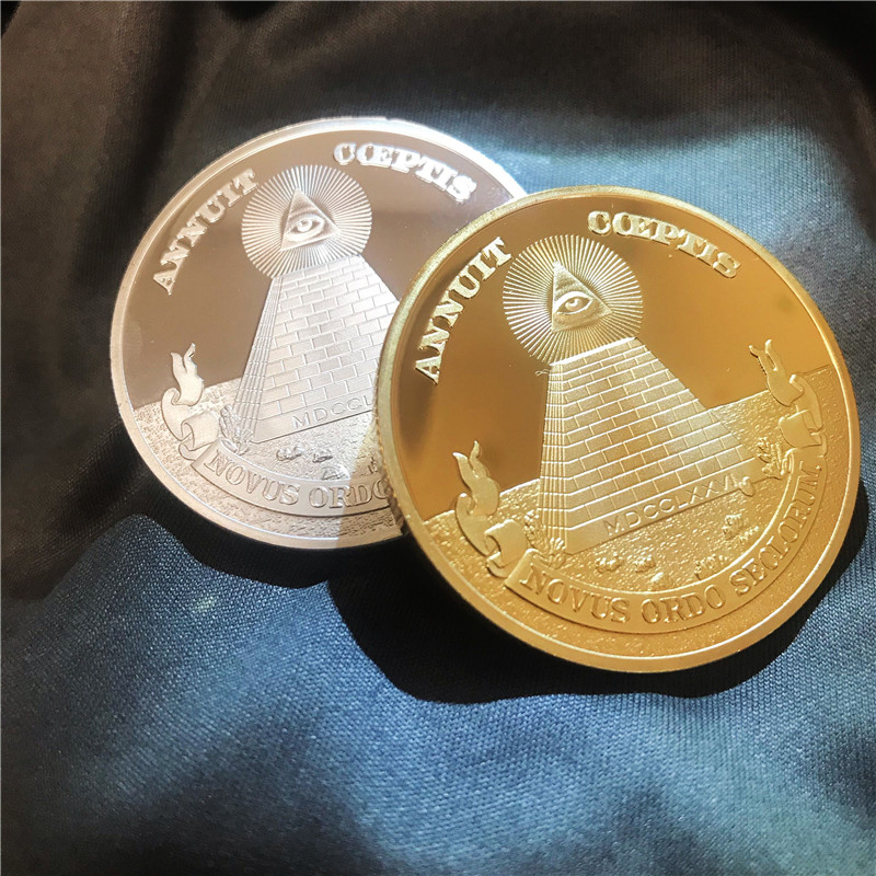 New Masonic Challenge Coins US Dollar Gold/Silver Coin with Pyramid Freemason All-seeing Eye Masonic Coin Collection Souvenir