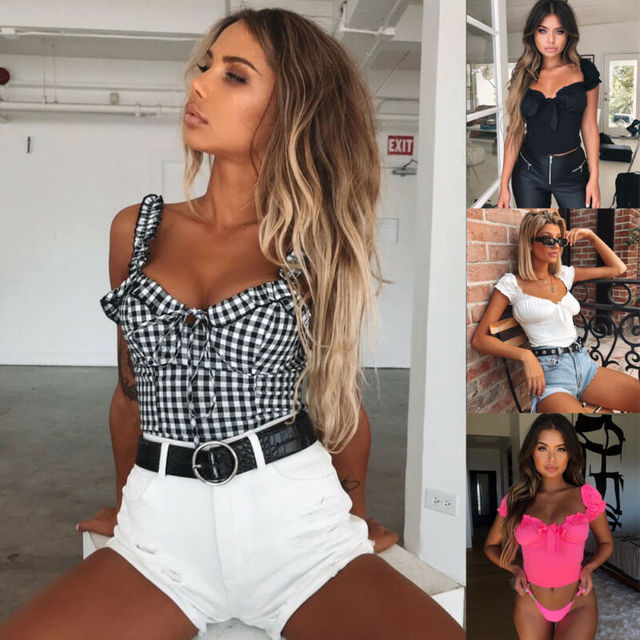 New Women Sexy Off Shoulder Casual Bralet Top Blouse 2019 Summer Female Tops Ropa Mujer
