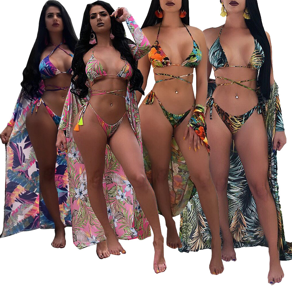 Ls6080 Hot Selling Europe And America WOMEN'S Dress New Style Swimwear Flower Bikini Three-piece Set Multi-color