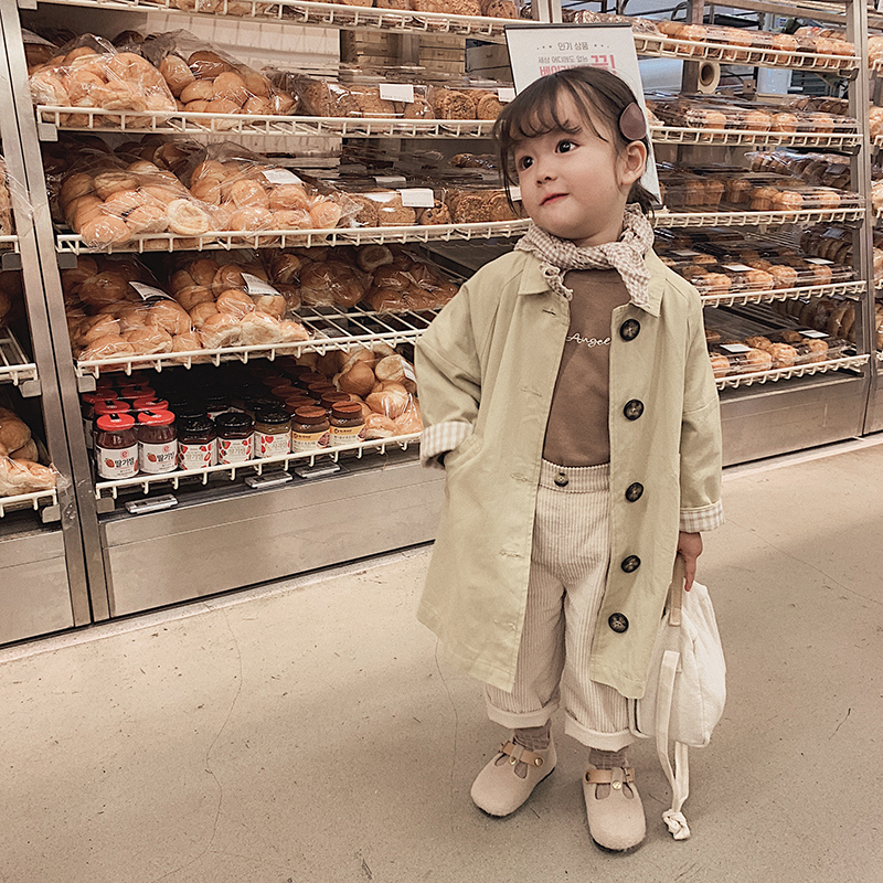 2019 autumn new baby girls two color lining grid breathe   Trench   children contracted fashion long sleeve coat kids clothing