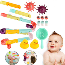 Baby Bath Toys DIY Assembling Track Slide Suction Cup Orbits Bathroom Bathtub Shower Toy Duck Water Toys For Children Boys Girls
