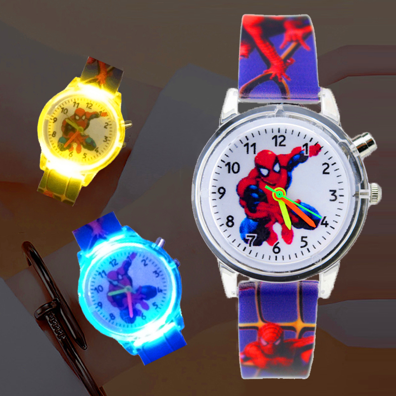 Flashing Light Spiderman Children Watch High Quality Kids Watches Child Boys Girls Clock Printing Silicone Belt Luminous Watch
