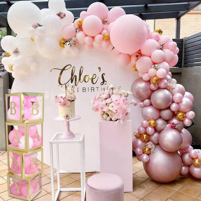 Gold Name Box Balloon Box Girl Boy Baby Shower Decorations Baby 12st  Birthday Party Gift Babyshower Christening Wedding Supplies