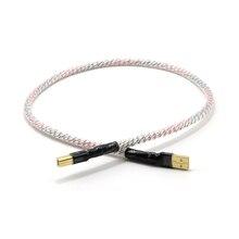 Высококачественный посеребренный + защитный USB кабель, высококачественный аудиокабель типа A в Тип B, кабель передачи данных Hi Fi, для ЦАП