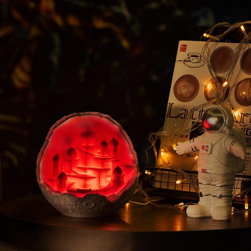 2019 New Dropship Night Light 3D Print Moon Castle Lamp Like Moon Lamp As Gift For Rocket Lamp Lover