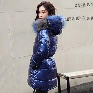 Image 3 - ผู้หญิงเสื้อคลุมยาวลงเสื้อโค้ท2020ฤดูหนาวหนาลงเสื้อแจ็คเก็ตกระเป๋าWarm Outwearเงินขนาดใหญ่หญิง
