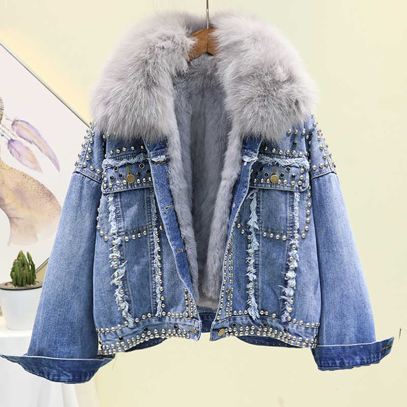 Winter Thick Warm Denim Jacket Women Fashion Loose Rivet Real Fox Fur Collar Rabbit Hair Liner Jeans Jacket Short Outwear Female