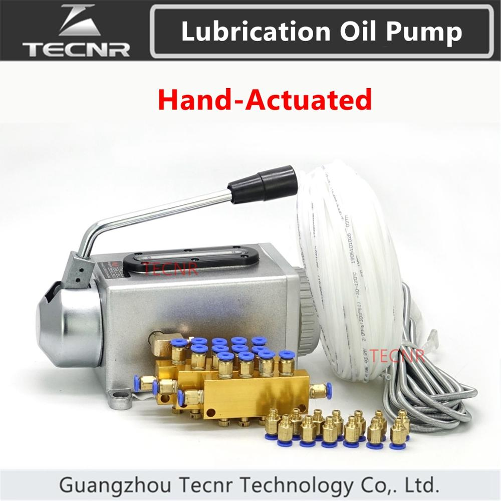 TECNR CNC Lubricating Oil Pump Hand-actuated Cnc Router Electromagnetic Lubrication Pump  Stainless Steel Body