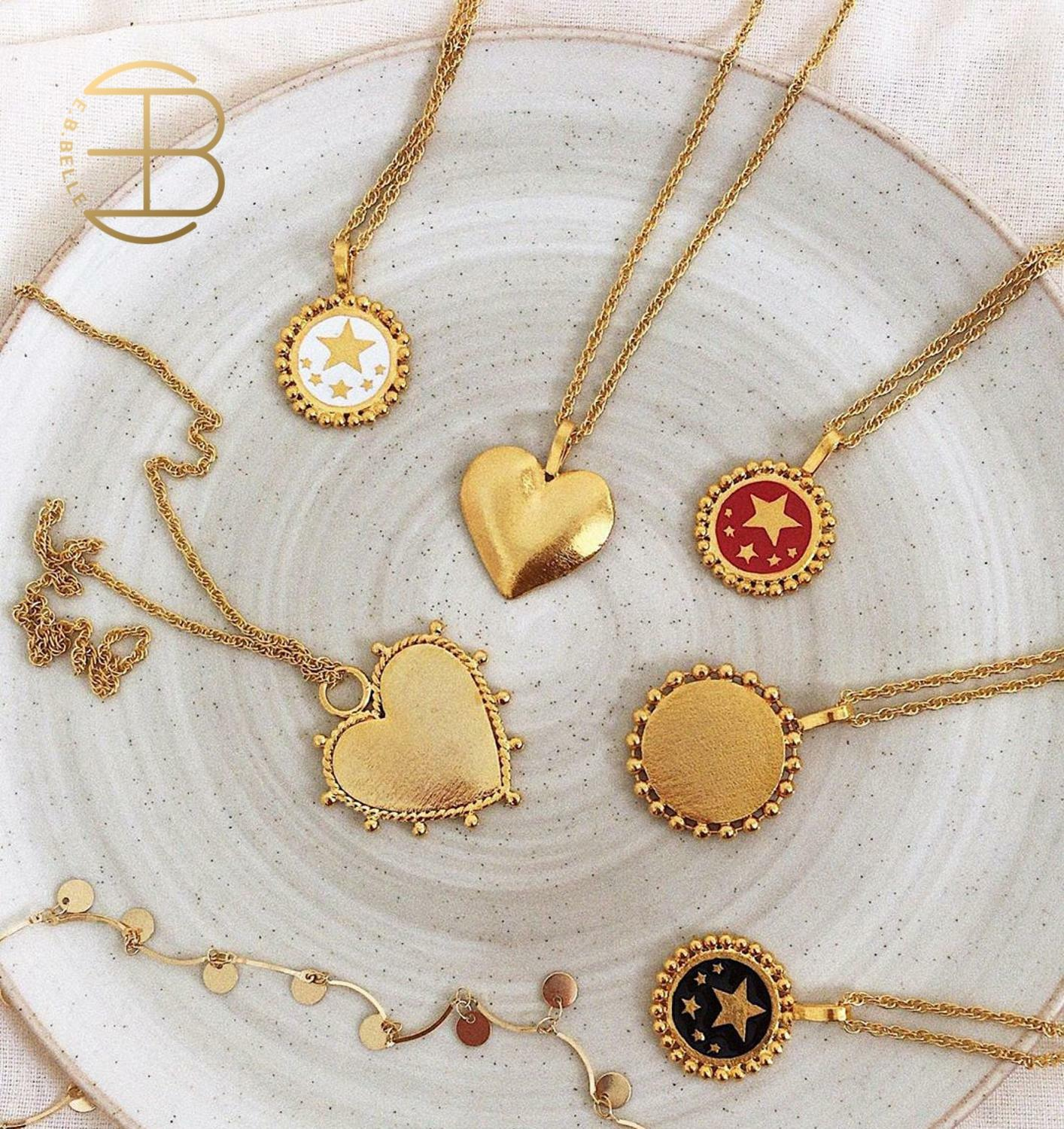 2020 New Red White Black Enamel Star Pattern Gold Coin Necklace For Women Ladies Heart Pendant Necklaces Jewelry Accessories