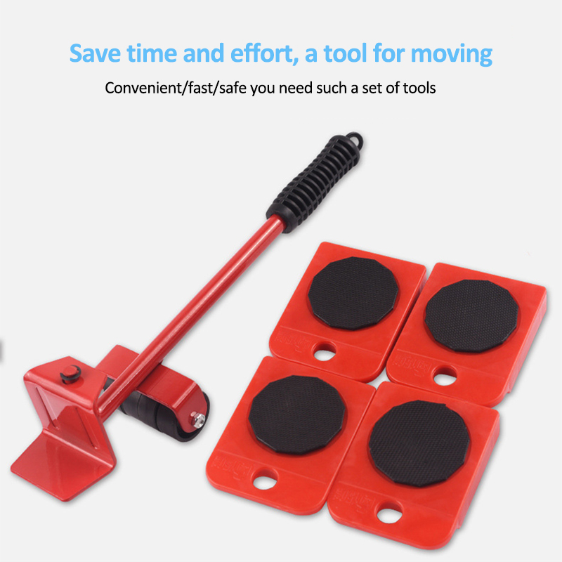 5Pcs Furniture Mover Tool Transport Lifter Set Heavy Stuffs Moving Wheeled Roller Bar Household Hand Tools Professional Sets-2