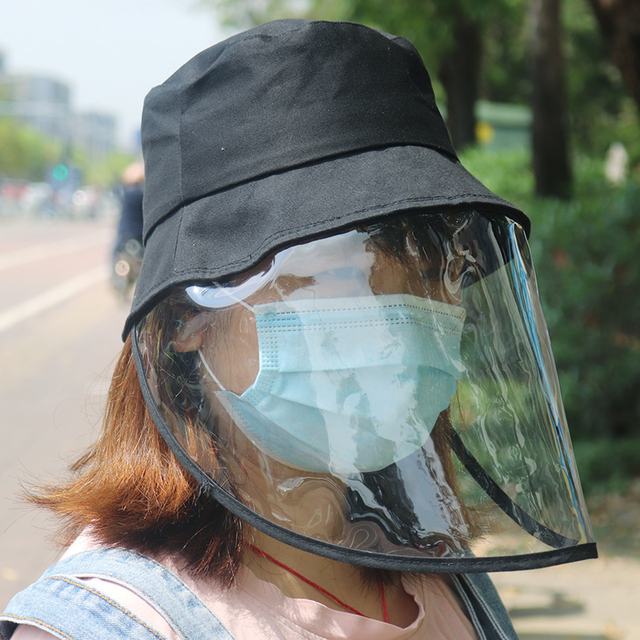 Windproof Sun Hat Face Shield Cover Hat Anti Spitting Saliva Dust proof Fisherman Cap With Detachable Clear Facial Mask 1