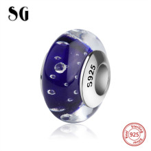 SG sparkling Murano glass beads silver 925 diy water drops charms fit authentic pandora bracelets jewelry making for women gift цена