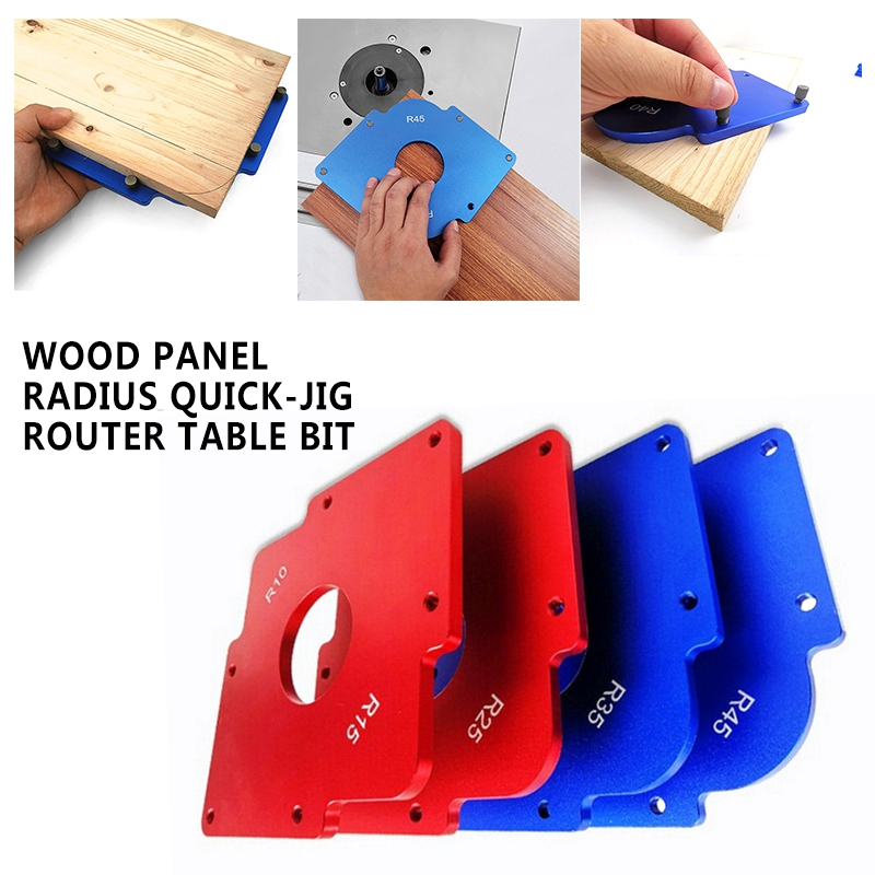 2019 Aluminum alloy 6061 Wood Panel Radius Quick-Jig Router Table Bit Corner Templates Woodworking Tool Fasteners Dowel Red Blue