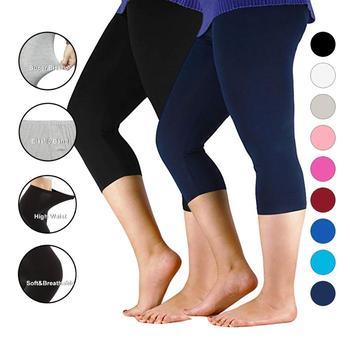 Women Pants Workout Slim Leggings Plus Size Capri Legging High Stretch Casual Bamboo Fiber Leggings Pants Basic Leggings Women 1