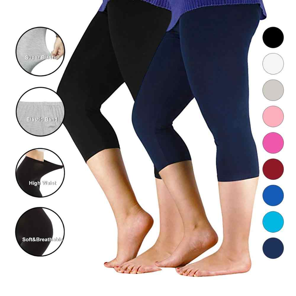 Frauen Hosen Workout Dünne Leggings Plus Größe Capri Legging Hohe Stretch Casual Bambus Faser Leggings Hosen Grund Leggings Frauen