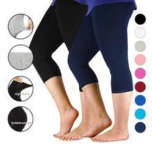 Kadın pantolon egzersiz tayt artı boyutu Capri Legging yüksek streç rahat bambu elyaf tozluk pantolon temel tayt kadınlar