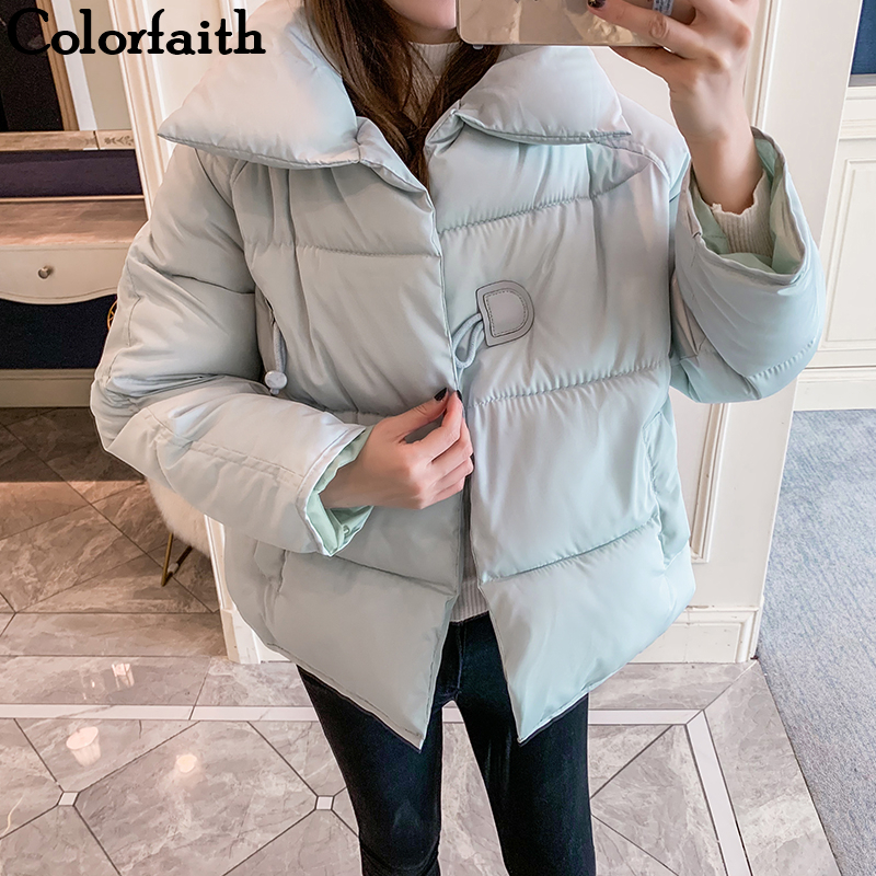 Colorfaith New 2019 Autumn Winter Women   Down   Jacket   Coat   Loose Thicken Warm Pockets Quilted   Coat   Puffer Fashionable JK832