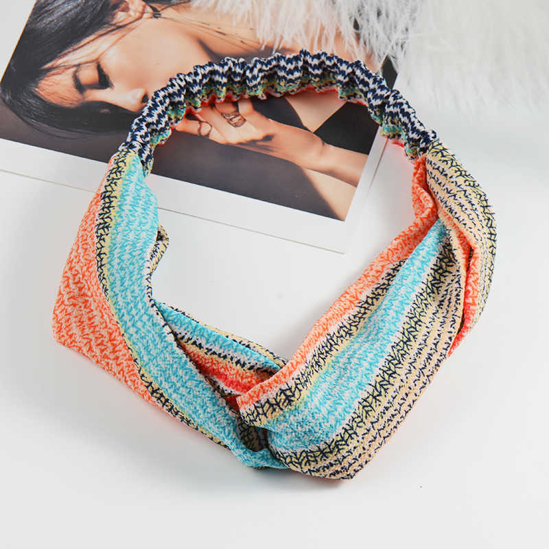 Cruz moda Chffion Mulheres Headband Do Turbante Nó Cruz Flor Impresso Hairbands Acessórios de Cabelo Corda Cabelo Elástico Macio 2019