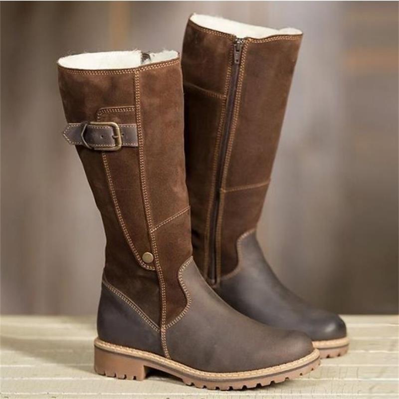 2019 botas de moda para mujer, zapatos de Invierno para mujer, botas altas de peluche de rodillas, zapatos planos de retazos de lujo, botas de nieve femeninas Casuales