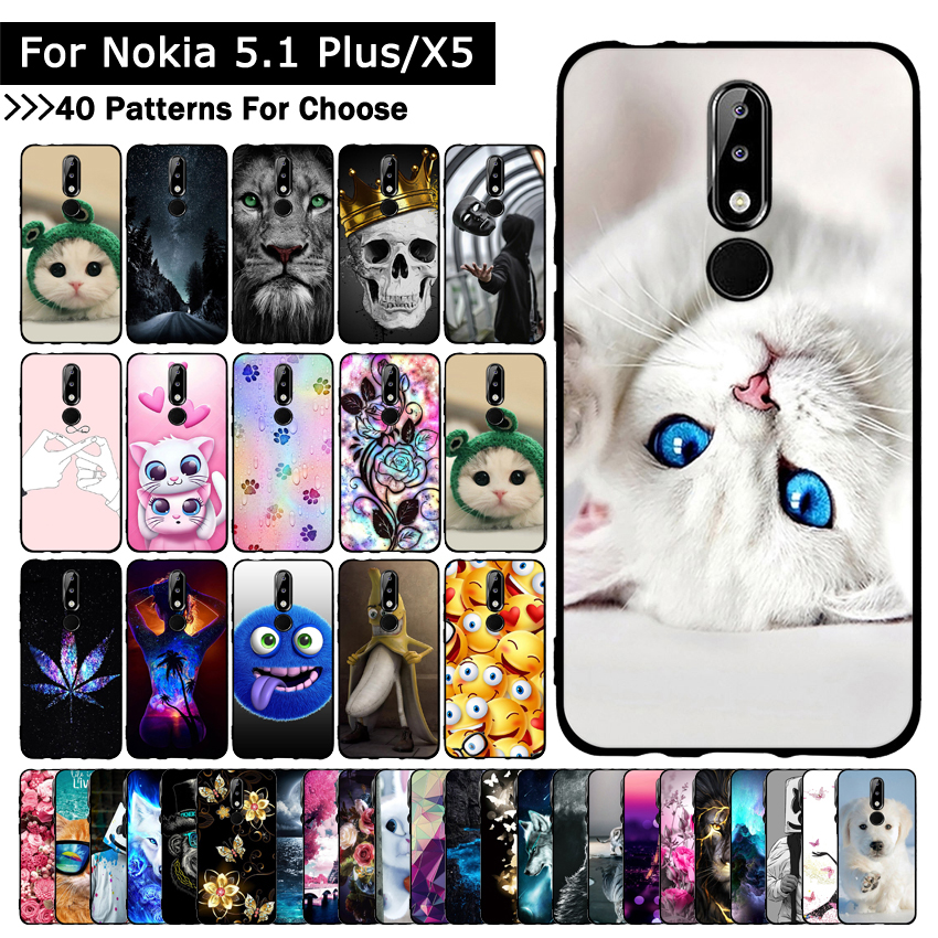 Luxury Silicone <font><b>Case</b></font> for <font><b>Nokia</b></font> <font><b>5.1</b></font> Plus/X5 Cartoon Protective <font><b>cases</b></font> for nokia5.1 plus mobile <font><b>phone</b></font> covers for <font><b>Nokia</b></font> 5.1Plus capa image