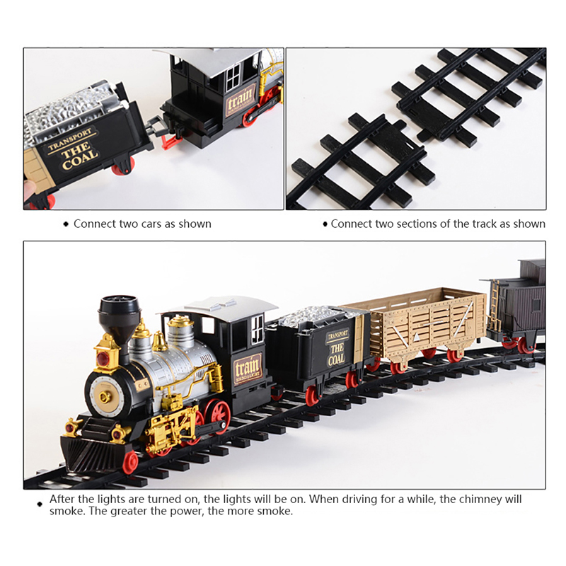 Electric Rechargeable Steam Smoke Train Music Light Track Car Toy Simulation Retro Steam Smoke Train Toys Boys Girls Gifts - 5