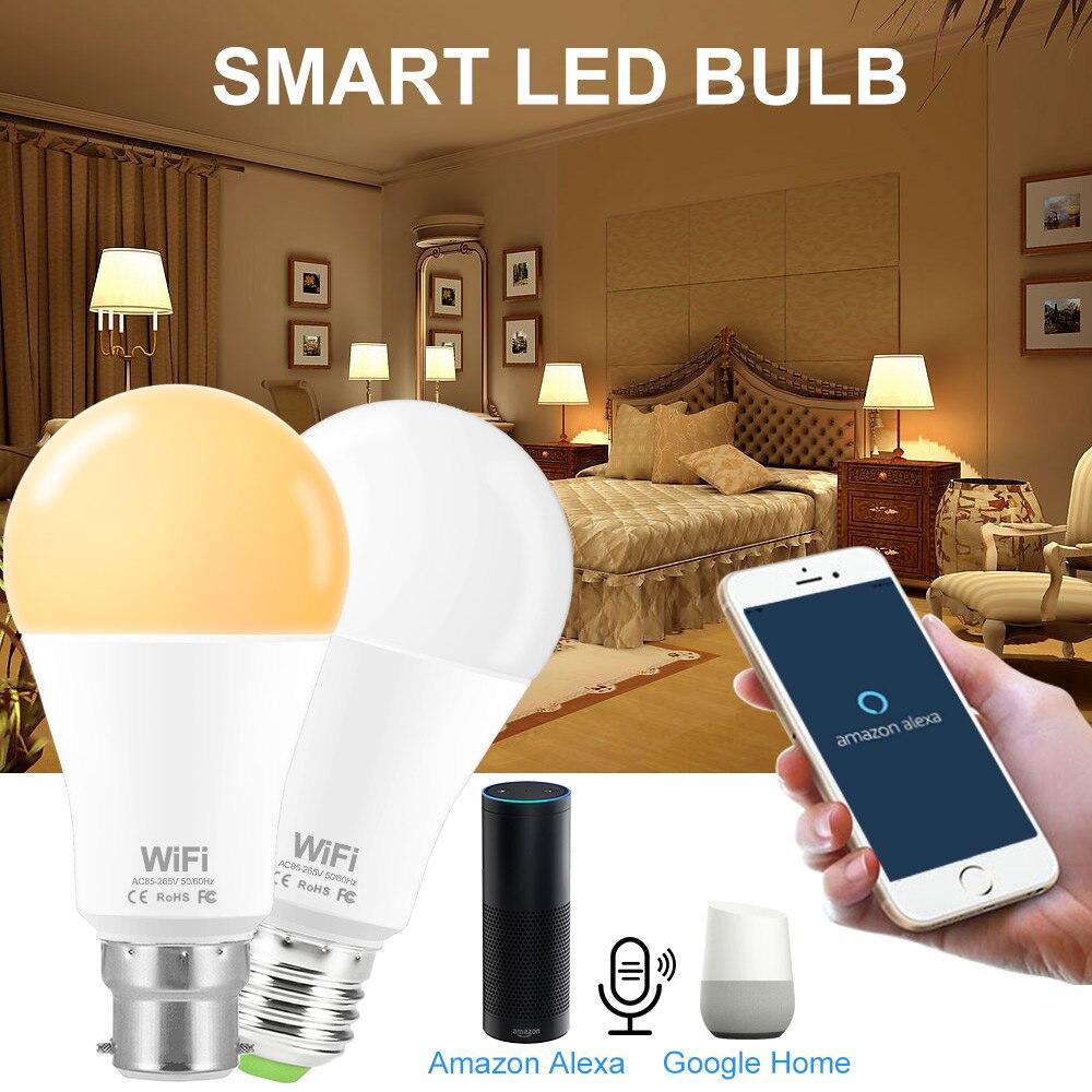 Smart Light Bulb WiFi Led 15W E27 B22 110V 220V Dimmable WiFi Smart Led Lamp Bulbs Warm White / White Support Alexa Google Home