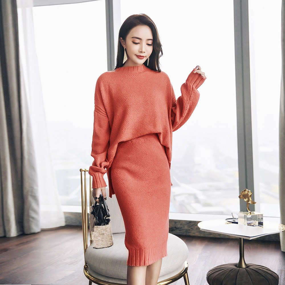 Women Elegant Pullover Tops Knee Length Skirt Knitting Sweater Set Loose Knitted Sweater Two Piece Suit Solid Outfits