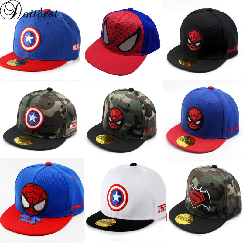Doitbest 2 To 8 Years Old Children HipHop Summer Baseball Cap Captain Spiderman Autumn Kids Sun Hat Boys Girls Snapback Caps