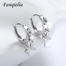 Fanqieliu criativo vintage jóias lua estrela real 925 brincos de prata esterlina para menina cruz aros feminino fql20495